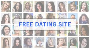 Free dating site. The title text is depicted on the background o. F a collage of many square female portraits. The concept of service for dating stock images