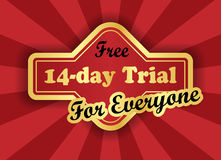 Free 14-day trial label in retro style Stock Photos