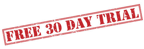 Free 30 day trial stamp on white background. Free 30 day trial red stamp isolated on white background Stock Photos