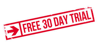 Free 30 Day Trial rubber stamp. Grunge design with dust scratches. Effects can be easily removed for a clean, crisp look. Color is easily changed Stock Photo
