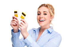Free from Debt Woman Cutting Credit Credit Card Stock Image