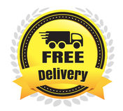 Free Deliver Ecommerce Badge. Modern Free Delivery And Shipping Vector eCommerce badge Stock Images