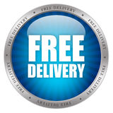Free deliver icon. Free delivery glossy icon over white Stock Photography