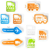 Free delivery. Free delivery sticker set for sale Royalty Free Stock Images