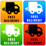 Free delivery. Colorful icons regarding fast and free delivery of orders Stock Photography