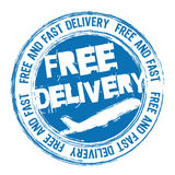 Free delivery. Blue free delivery with plane stamp over white background. vector Stock Image