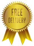 Free Delivery badge Icon in gold with ribbon royalty free stock images