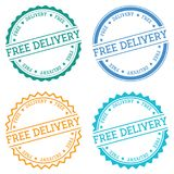 Free Delivery badge isolated on white background. Flat style round label with text. Circular emblem vector illustration Royalty Free Stock Photography