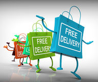 Free Delivery Bags Show Promotion of no Charge Royalty Free Stock Images