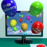 Free Delivery Balloons From Computer Showing No Charge Or Gratis Royalty Free Stock Images