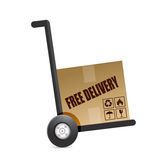 Free delivery box on a dolly. illustration Stock Photography