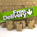 Free delivery, box wall Royalty Free Stock Image