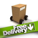 Free delivery, box on wheels Royalty Free Stock Photography