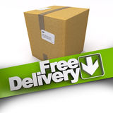 Free delivery, cardboard box Royalty Free Stock Images