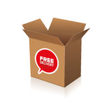 Free delivery cardboard Stock Photography