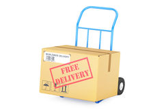 Free delivery concept. Cardboard box on hand truck, 3D rendering Stock Photo