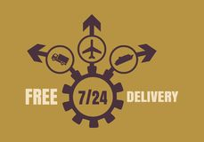 Free delivery emblem design. Truck, airplane and ferry boat icons on destination arrows. 7 day 24 hours time operation mode Stock Images