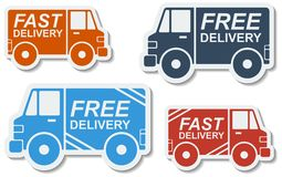 Free delivery, fast delivery icons set. Vector. Royalty Free Stock Photo