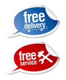 Free delivery, free service stickers. Stock Image