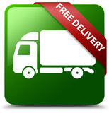 Free delivery green square button. Reflecting shadow with red ribbon in corner stock illustration