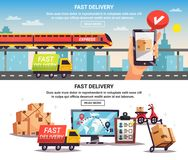 Free Delivery 2 Horizontal Banners. Free train truck shipment fast delivery service with online tracking 2 horizontal banners design isolated vector illustration Royalty Free Stock Photos