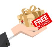 Free Delivery Icon with Cardboard Package in Hand stock illustration