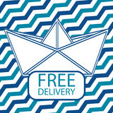 Free delivery icon with paper boat. Flat style icon Royalty Free Stock Images