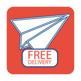 Free delivery icon with paper plane. Flat icon Stock Images