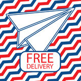 Free delivery icon with paper plane Royalty Free Stock Photography
