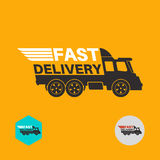 Free delivery icon. Round the clock shipment concept. Design can be used as a poster, advertising, singboard. Vector element of graphic design Stock Photography