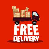 Free Delivery Icon with Truck and Parcels. Vector Shipping Symbol Stock Illustration