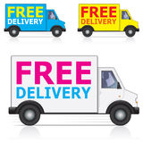 Free Delivery Icons. Free delivery lorry/van icons with silhouette of male driver. Three different colors - white, blue and yellow Stock Images