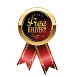 Free delivery label. Free delivery red and gold  label Stock Photography