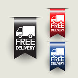 Free delivery labels or ribbons. Vector illustration stock illustration