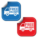 Free delivery labels or stickers. Vector illustration Stock Image