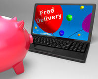 Free Delivery On Laptop Showing Free Shipping Stock Images