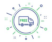 Free delivery line icon. Shopping truck sign. Vector stock illustration