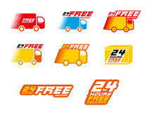 Free Delivery Logos. llustration of icons shipments. Stock Photos