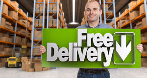 Free delivery, man Stock Photography