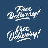 `free delivery` marketing vintage hand written brush lettering typography tag design. `free delivery` marketing vintage hand written lettering typography tag Stock Photo
