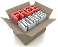 Free delivery package from shipping online webshop Stock Image