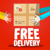 Free Delivery. Paper Box with Hands Stock Photos