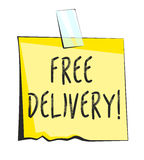 Free delivery paper sticky note. Retro reminder sticker Royalty Free Stock Photos