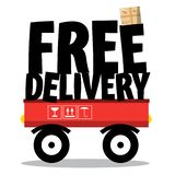 Free Delivery. Parcel and Title on Vehicle vector illustration