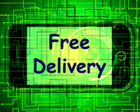 Free Delivery On Phone Shows No Charge Or Gratis Deliver Royalty Free Stock Image