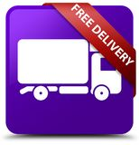 Free delivery purple square button red ribbon in corner. Free delivery isolated on purple square button with red ribbon in corner abstract illustration Royalty Free Stock Photos