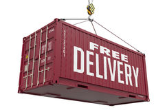 Free Delivery - Red Hanging Cargo Container. Royalty Free Stock Photos