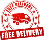 Free delivery red stamp Royalty Free Stock Images