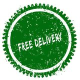 FREE DELIVERY round grunge green stamp vector illustration