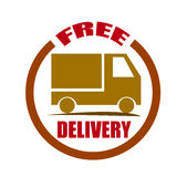 Free delivery shipping red badge Royalty Free Stock Image